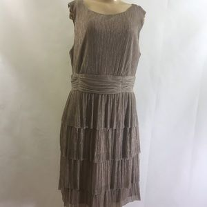 Connected Apparel stunning shimmer Champagne dress